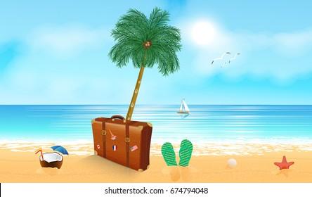 Tropical beach with palm tree. Sandy beach under the bright sun. Vector illustration.