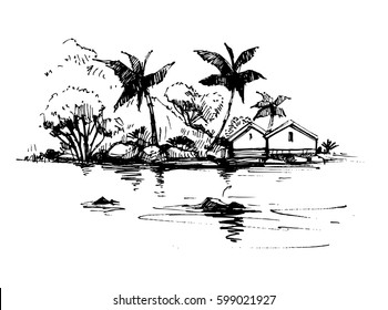 Tropical beach with palm trees and bungalow. Hand drawn illustration converted to vector.