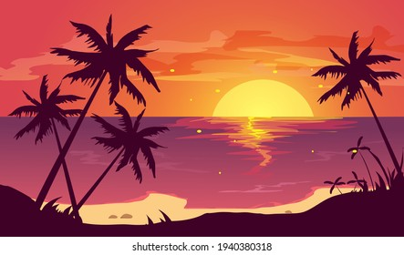 Tropical beach with palm trees and sea. Beautiful view in summer. Vector illustration