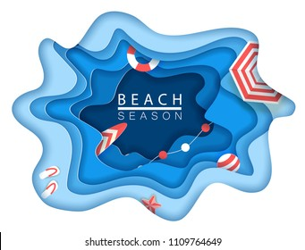 Tropical beach in paper art style. Vector top view paper cut illustration. Summer holiday concept poster template.  Craft origami.