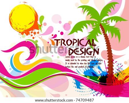 Tropical Beach Party Background Circles Splash Stock-Vektorgrafik ...