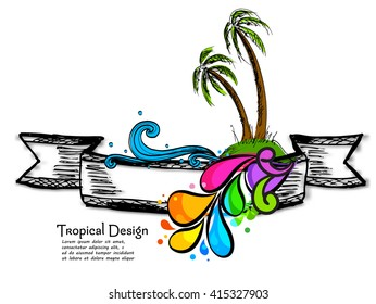 Tropical beach party, nature and sea on the tropical beach.Editable Illustration