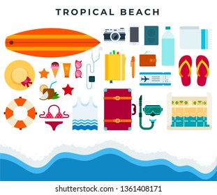 Tropical beach rest, set of summer beach accessories. Swimsuit, hat, flip flops, cocktail, ice cream, snorkel mask, sunglasses, camera, surfboard, lifeline, suitcase. Vector flat illustration.