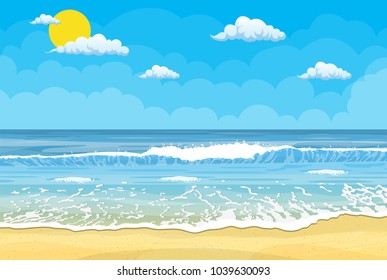 Tropical beach. Sandy beach under the bright sun. Vector illustration in flat style