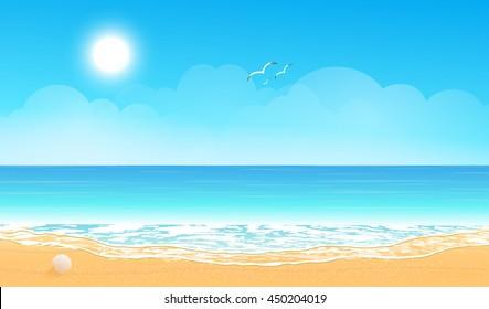 Tropical beach. Sandy beach under the bright sun. Vector background.