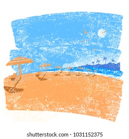 Tropical beach seascape background.Vector symbol of seascape vacation on old paper texture