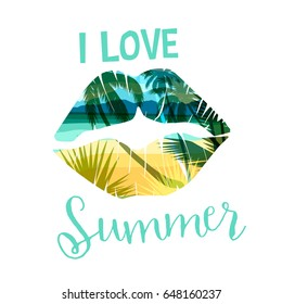 Tropical beach summer print with slogan for t-shirts, posters, card and other uses. Vector illustration.