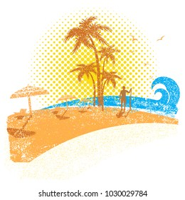 Tropical beach with surfer .Vector seascape background on white on old paper texture