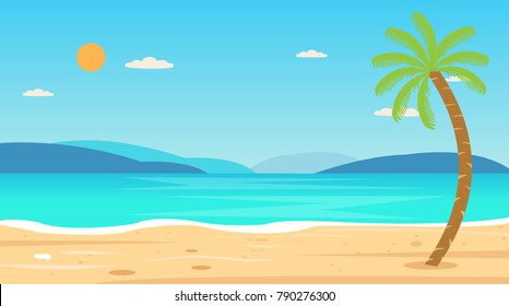 Tropical Beach Travel Holiday Vacation Leisure Nature Concept vector illustration.Beautiful seascape  and sky background.Travel concept.