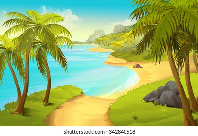 Tropical beach, vector background