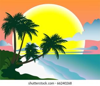 Tropical beach. Vector illustration. Tropical background.