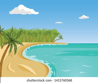 Tropical beach vector illustration. Summer seascape picture. Sea coastline background