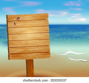 tropical beach with a wooden sign