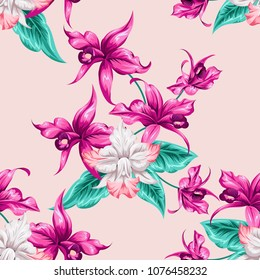 Tropical beautiful flowers pretty pattern. Seamless cute orchids background. Use for textile, dress, wallpaper, home design.