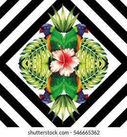 Tropical bird parrot, plants and hibiscus flower in the trendy mirror style on black and white geometric background vector pattern