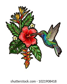 Tropical birds embroidery patches with flowers and leaves. Hummingbird embroidered.