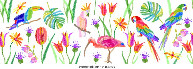 Tropical birds and flowers. Panoramic border with parrots, toucan, ibis, palm leaves, tulips and grass. Vector illustration for wall painting and fashion design.
