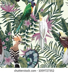 Tropical birds parrot hoopoe, exotic jungle plants leaves flowers abstract pastel color seamless white background