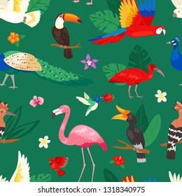 Tropical birds vector exotic parrot or flamingo and peacock with palm leaves illustration set of fashion birdie ibis or hornbill in flowering tropics background