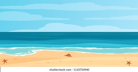 Tropical blue sea and a sand beach vector background.