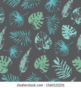 Tropical blues leaves repeating seamless pattern design