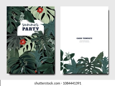 Tropical botanical garden invitation card template design, red Japanese camellia flowers with leaves on black background