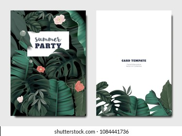 Tropical botanical garden invitation card template design, anemone flowers with leaves on black background