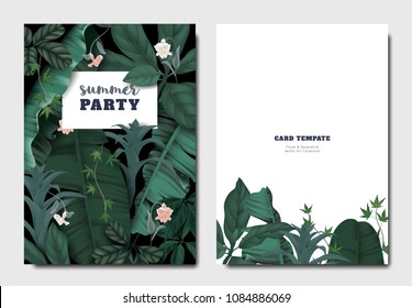 Tropical botanical garden invitation card template design, Cattleya orchid flowers with leaves on black background