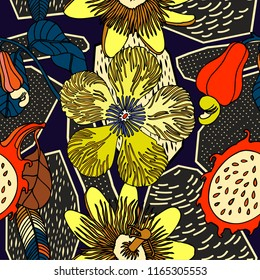 Tropical bright pattern design, exotic fruits and jungle plants.
