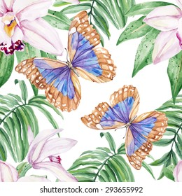 Tropical butterflies and orchids.  Seamless, hand painted, watercolor pattern. Vector background