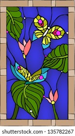 Tropical butterflies / Stained glass window