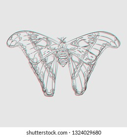 Tropical butterfly in trendy flat style with visual anaglyph stereoscopic effect isolated. Vector illustration in surrealism modern art style with chromatic aberration.
