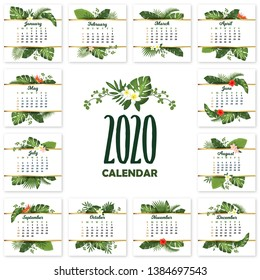 Tropical calendar design for 2020. Printable calendar for year 2020 with exotic palm leaves and flowers