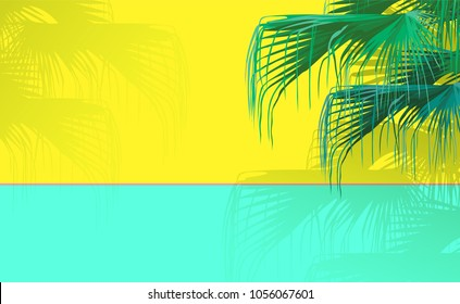 Tropical Chinese fan palm tree on bright neon yellow and green-mint background in sunny day. vintage/ retro minimal background
