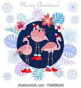 Tropical Christmas. Flamingo, palm leaves and snowflakes. Template for cards and party invitations. On white background.