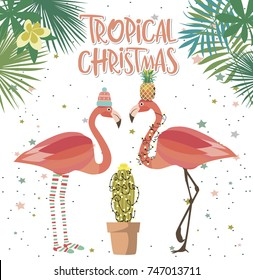 Tropical Christmas greeting card with plant and flamingo. Editable vector illustration