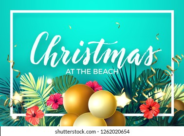 Tropical Christmas on the beach design with monstera palm leaves, hibiscus flowers, xmas balls, gold glowing stars and light bulbs, vector illustration.