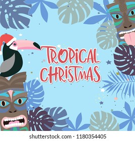 Tropical Christmas poster with fun hawaiian mask and toucan. Merry Christmas greeting or invitation card. Editable vector illustration