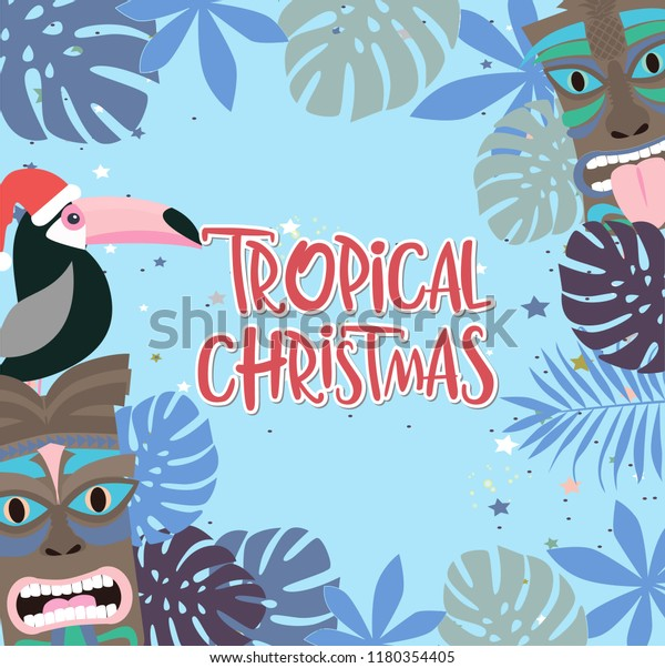 Hawaiian Merry Christmas.Tropical Christmas Poster Fun Hawaiian Mask Stock Vector