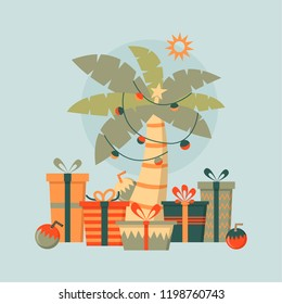 Tropical christmas tree and presents pastel palette, vector illustration