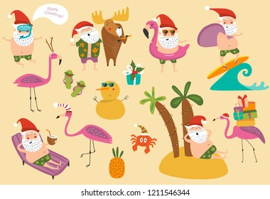 Tropical Christmas in vector set