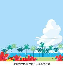 Tropical coast where hibiscuses bloom