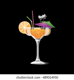 Tropical cocktail isolated. Alcohol beverage with orange and straw. Summer vector cocktail in glass illustration