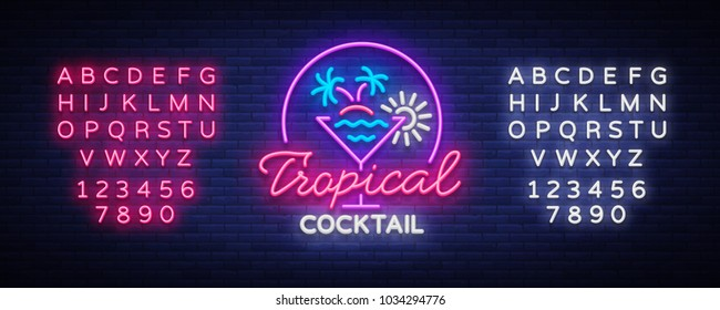 Tropical Cocktail neon sign. Cocktail Logo, Neon Style, Light Banner, Night Bright Neon Advertising for Cocktail Bar, Party, Pub. Alcohol. Vector illustration. Editing text neon sign