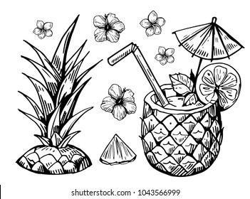 Tropical cocktail in pineapple. Hand drawn vector illustration