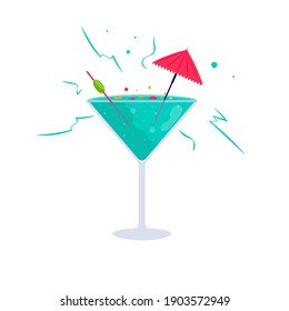 Tropical cocktails. Alcoholic summer drinks in glasses , mojito, vodka, sambuca, martini, juices, bloody mary. Holiday concept for party invitation, bar menu. Vector illustration