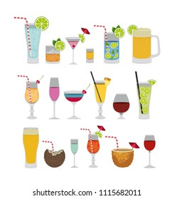 tropical cocktails set icons