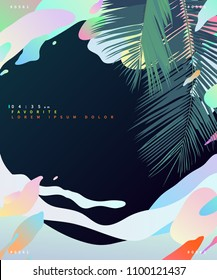 Tropical coconut leaf and pastel phychedelic liquid cloud background. graphic template with space for text