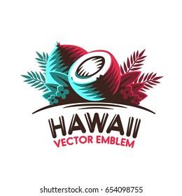 Tropical coconut. Logo, label. Vector
