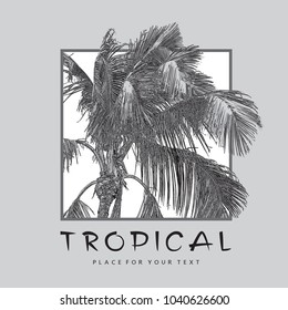 Tropical Coconut palm tree with leaves close-up. Monochrome realistic vector illustration. Pattern, design element for summer holiday, travel and vacation concept.